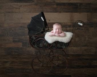 Newborn Digital Backdrop Wicker Carriage Buggy Stroller Vintage Sheep Skin Rustic Organic Wood