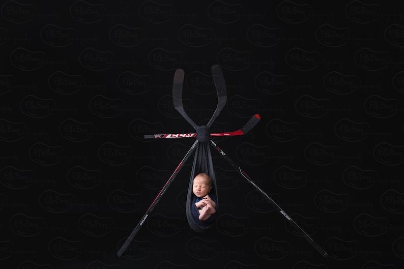 Newborn Digital Backdrop Hockey Sports Bauer CCM Hockey Sticks Puck