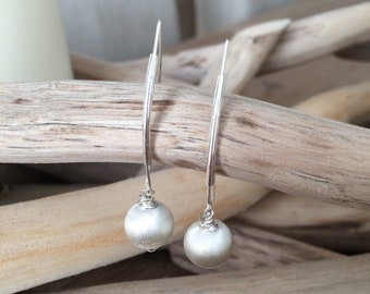 Earrings silver plated hooks, tubes and satin 925 sterling silver beads