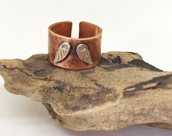 Angel wing ring Copper ring Silver ring Adjustable ring Boho ring Thumb ring Statement ring Guardian Angel jewelry Wide ring Gift for her