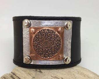 Black Leather Cuff Boho bracelet for women Leather cuff bracelet Copper Silver leather wristband Boho jewellery Gypsy jewelry Gift for her