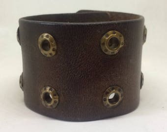 Dark brown leather metal cuff bracelet for her Leather jewelry Leather cuffs Leather bracelet Recycled jewellery Boho jewelry Gifts for her