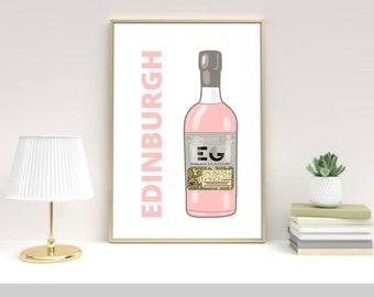 Edinburgh Gin art print, Scotland, Scottish
