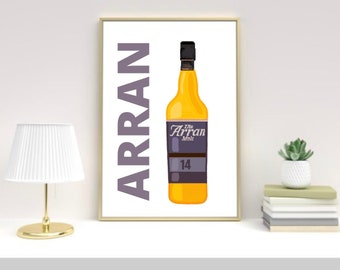 Isle of Arran Whisky art print, Scotland, Scottish art