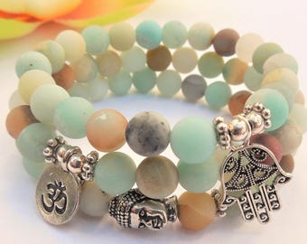 5d7927ac698b90 FREE SHIP amazonte bracelet amazonite stone bracelet energy bracelet yoga  stack bracelet set stackable bead bracelets om buddha hamsa hand