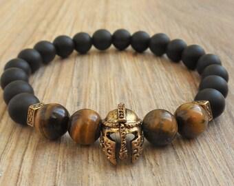 helmet bracelet helmet jewelry warrior bracelet spartan bracelet gladiator bracelet for him rock bracelet unique gifts for men tigers eye