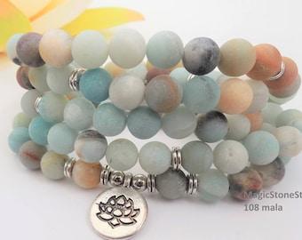amazonite mala yoga mala meditation mala 108 mala bracelet lotus mala healing mala zen mala spiritual mala 108 mala beads yoga necklace mala
