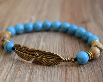 native american beaded jewelry gold feather bracelet boho bracelet feather jewelry for her turquoise bead bracelet native american bracelet