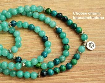 amazonite mala bracelet yoga mala meditation mala 108 mala bracelet lotus mala healing mala zen mala spiritual mala 108 mala beads om buddha