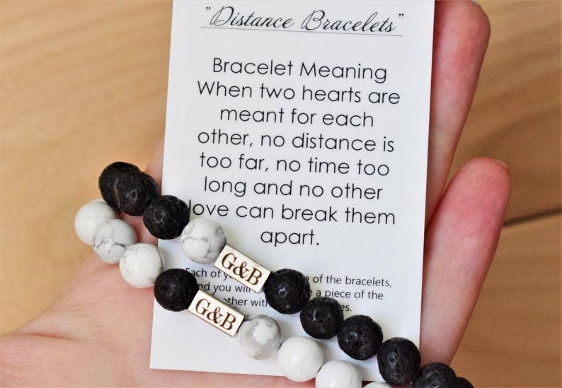 long distance love gift long distance relationship bracelet jewelry  distance boyfriend bracelet set for couple matching distance gifts him
