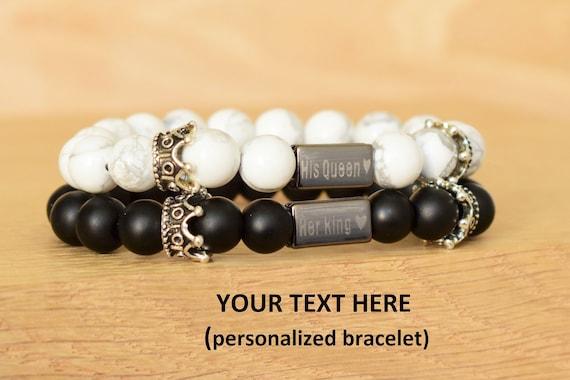 King Queen Bracelets Personalized Couples Bracelets Custom Etsy