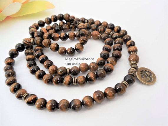 Mens Mala Beads Mens Mala Necklace Tigers Eye Mala 108 Prayer Etsy