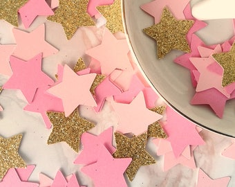 Pink & Gold Glitter Star Confetti - Party Confetti Birthday Baby Shower Wedding Bachelorette Party Confetti Table Decor Decoration