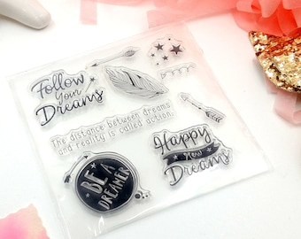 Set di 9 Timbri Trasparenti in Silicone Be A Dreamer