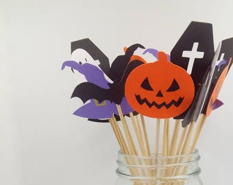 Set of 18 Mixed Halloween Cupcake Toppers, Jack O' Lantern, Witch, Ghost, Bat, Cake Topper for Party Table Decor Cocktail Decoration