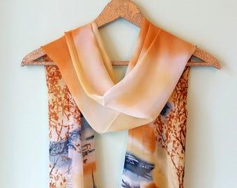 Caramel chiffon scarf