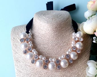 Gorgeous statement pearl necklace with satin ribbon