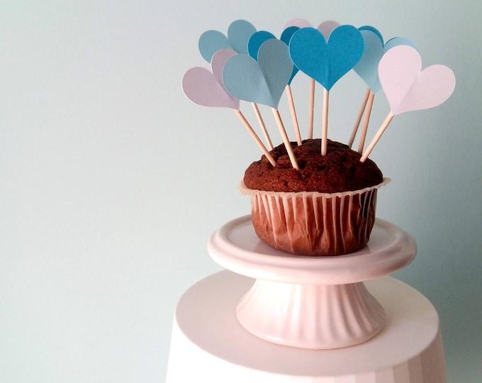 12 Cupcake Toppers Cuori