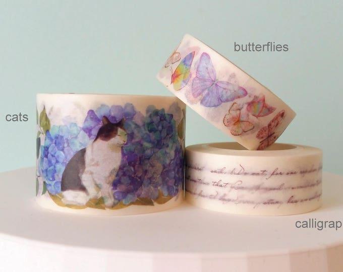 Washi Tape decorati Gattini Farfalle Calligrafia, Scegli il tuo Preferito!
