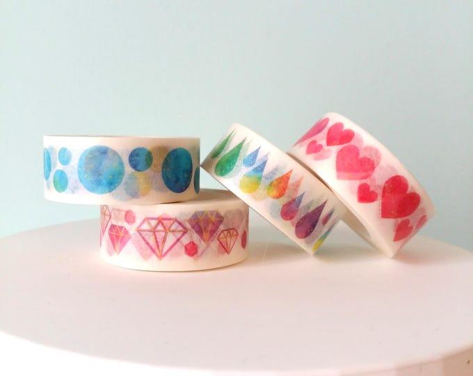 Washi Tape decorati Cuori Diamanti Gocce Lune, Scegli il tuo Preferito!