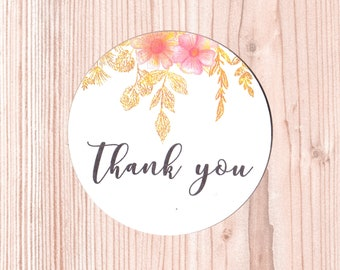 "Set di Stickers ""Thank you"" Floreali 