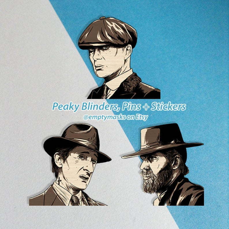 Tommy Shelby Wooden Pins Alfie Solomons IN STOCK and Stickers Luca Changretta Peaky Blinders