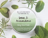 Natural Clay Face Mask Tin- Detox, Peppermint, Rosemary, Seaweed, Green Tea, Cruelty Free, Vegan, Handmade, Organic, Plastic Free Zero Waste