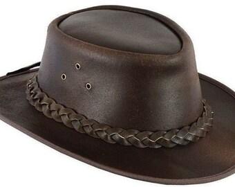 5f02fa94949 Leather Cowboy Western Style Bush Hat