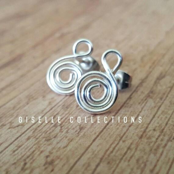 Sterling Silver Spiral Earrings Studs Minimalist