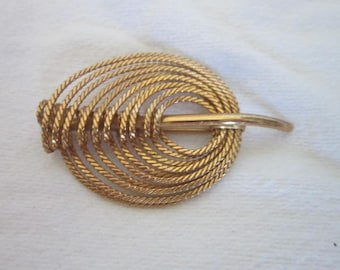Retro Rope Twist Large Stylized Gold Tone Brooch