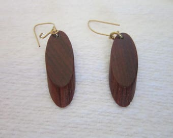 Vintage Exotic Wood Dangle Pierced Earrings