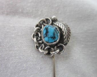Vintage Native American Artist Signed Sterling Silver & Turquoise Stickpin  Feather