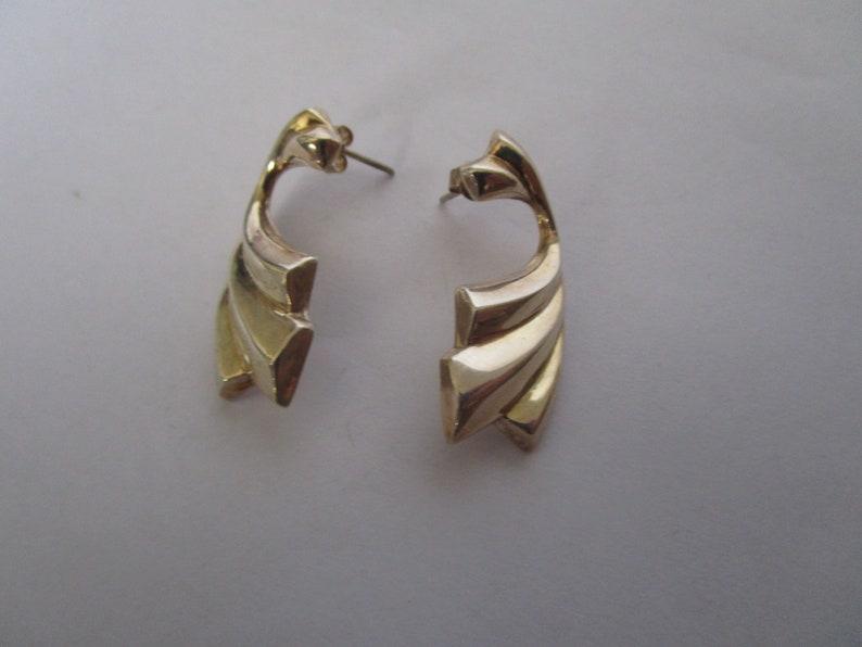 Stylized Modern Sterling Silver Pierced Earrings
