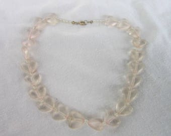 Vintage Heart Shaped Lucite Beaded Necklace