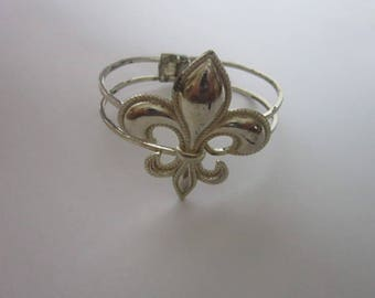 Vintage Silver Tone Large Flor De Leigh Hinged Cuff Bracelet