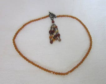 Pretty Cut Crystal Amber Glass Necklace