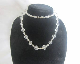 Antique Graduated Cut Crystal 34 inch Long Necklace with Gold Filled Clasp Beautiful