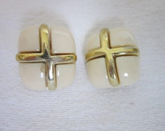 Vintage Large Bodacious Retro Gold Cross Clip on Earrings