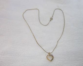 Vintage Flat Chain Necklace with Heart Pendant with Rhinestones 18 inch chain