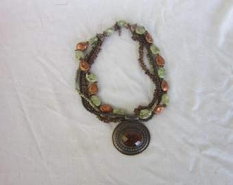 Vintage Wild & Crazy Costume 4 Strand 4 Stone Necklace Chunky Medallion