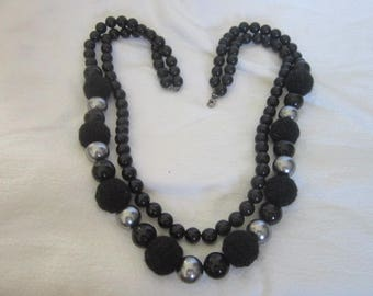 Retro Large  Bodacious Black & Silver Beaded Double Strand Necklace