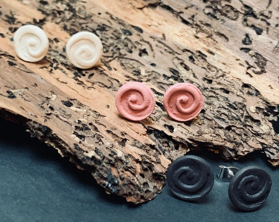 Curl-Twirl-Swirl Ear Studs | Porcelain Jewelry | Ceramic Ear Studs, Black White Pink, handcrafted, natural earrings, silverplated