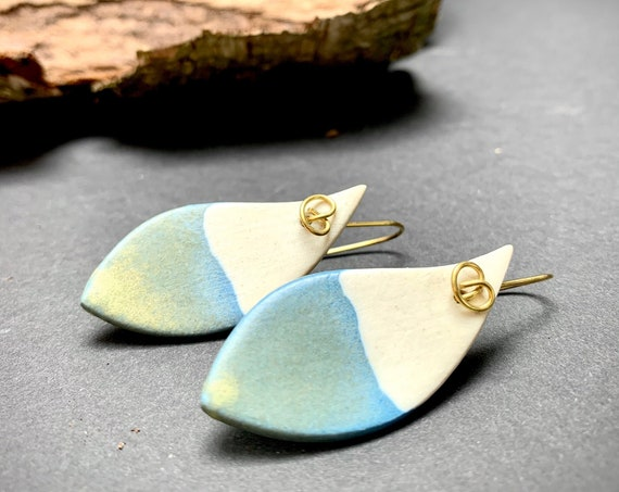 Boho Watercolors Porcelain Earrings | colorful minimalist leaf feather | large handcrafted earrings with brass earwires