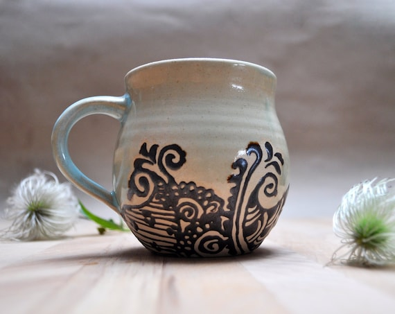 Turquoise Stoneware Cup with hand drawn Henna Patterns - Artistic Piece
