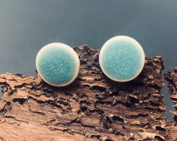 Porcelain Jewelry | Ceramic Ear Studs, Turquoise matt, handcrafted, earrings silverplated