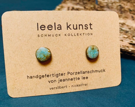 Turquoise Porcelain Earrings | Ceramic Ear Studs, Turquoise Gemstone, Black Porcelain, handcrafted jewelry, silver plated