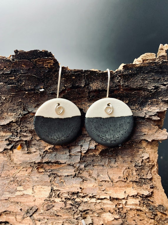 Simple Chic Porcelain Jewelry | Ceramic Earrings | natural black handcrafted earrings with real silver earwires