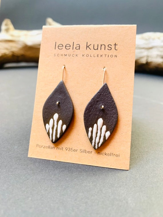 Porcelain Jewelry | Ceramic Earrings | natural black handcrafted earrings with real silver earwires