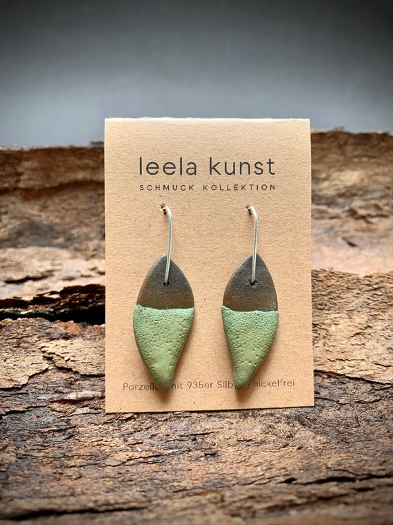 Leaf Porcelain Jewelry | Ceramic Earrings | green black natural handcrafted earrings with real silver earwires