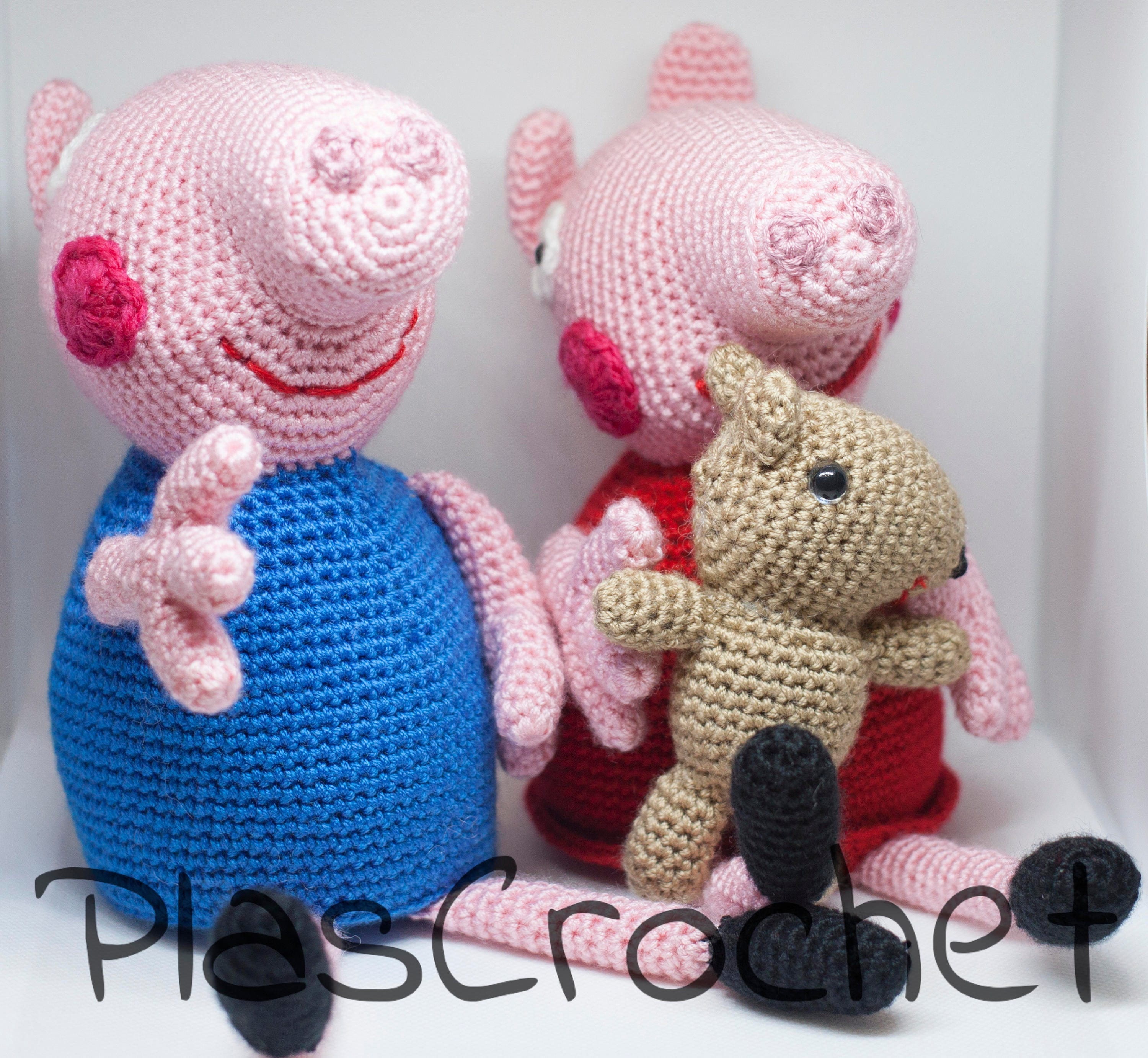 Pig Peppa Pig and George Pig amigurumi with crochet technique. Plush ...